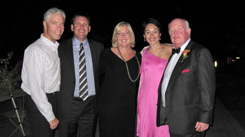 Tim Ford, Michael Bohl, Suzi Ford (nee Baumer) and Robyn Lamsam - all Bill's ex-swimmers at his daughter's wedding